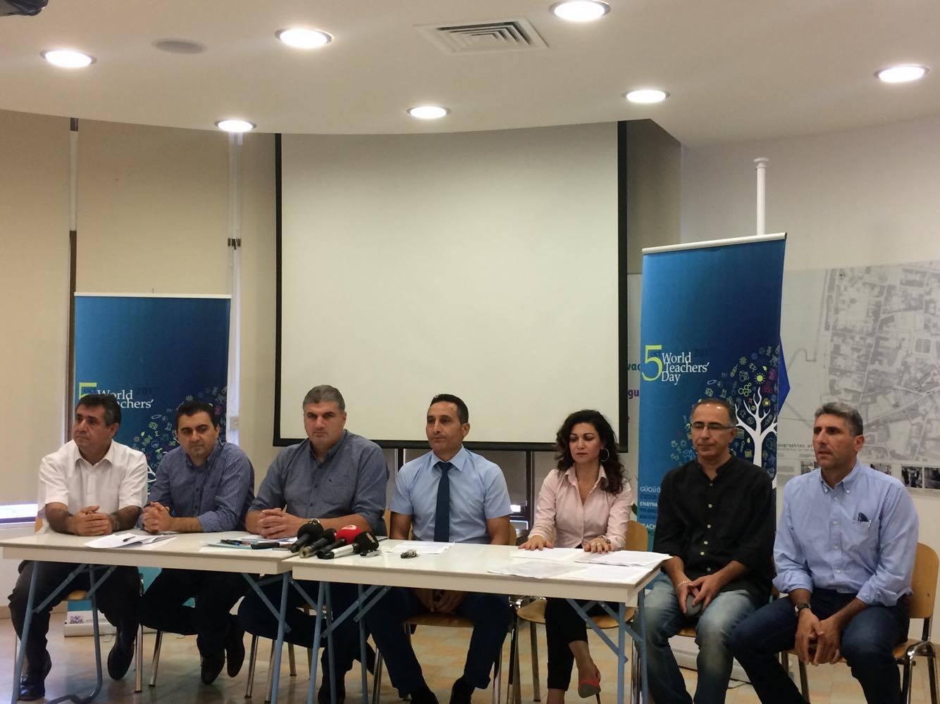 5 Ekim Dünya Öğretmenler Gününde Kıbrıslı Öğretmen Sendikaları Ortak Basın Toplantısı Gerçekleştirdi