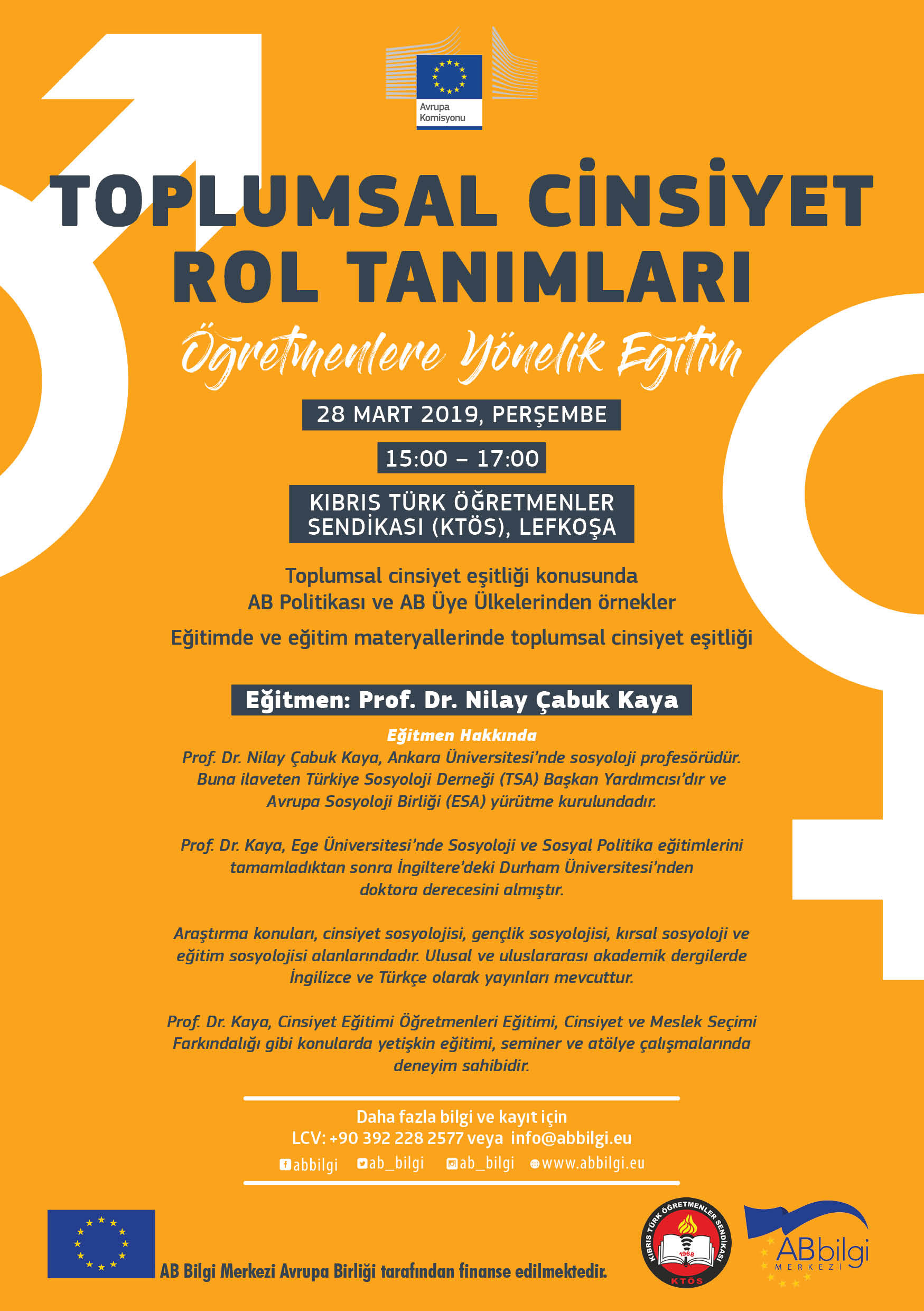 Öğretmenlere Yönelik Toplumsal Cinsiyet Rol Tanımları Eğitimi 28 Martta KTÖS'de…